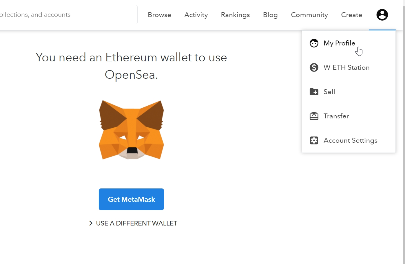 Ethereum op je MetaMask account zetten om NFT's  te verkopen via OpenSea Marktplaats